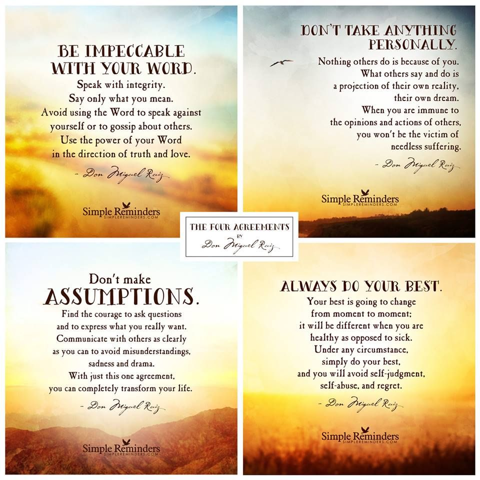 The Four Agreements Simple Reminders Positive Inspirational