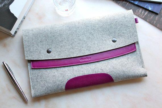 MacBook Air 13  Dark Pink Leather & Light Grey Wool Felt