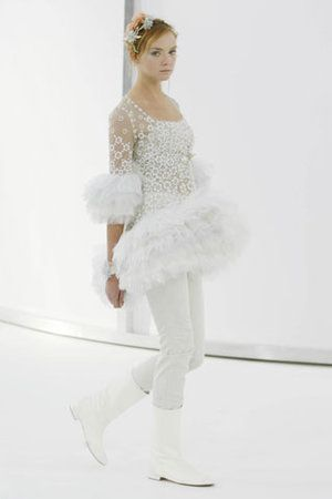 Chanel Couture White Tulle Dress
