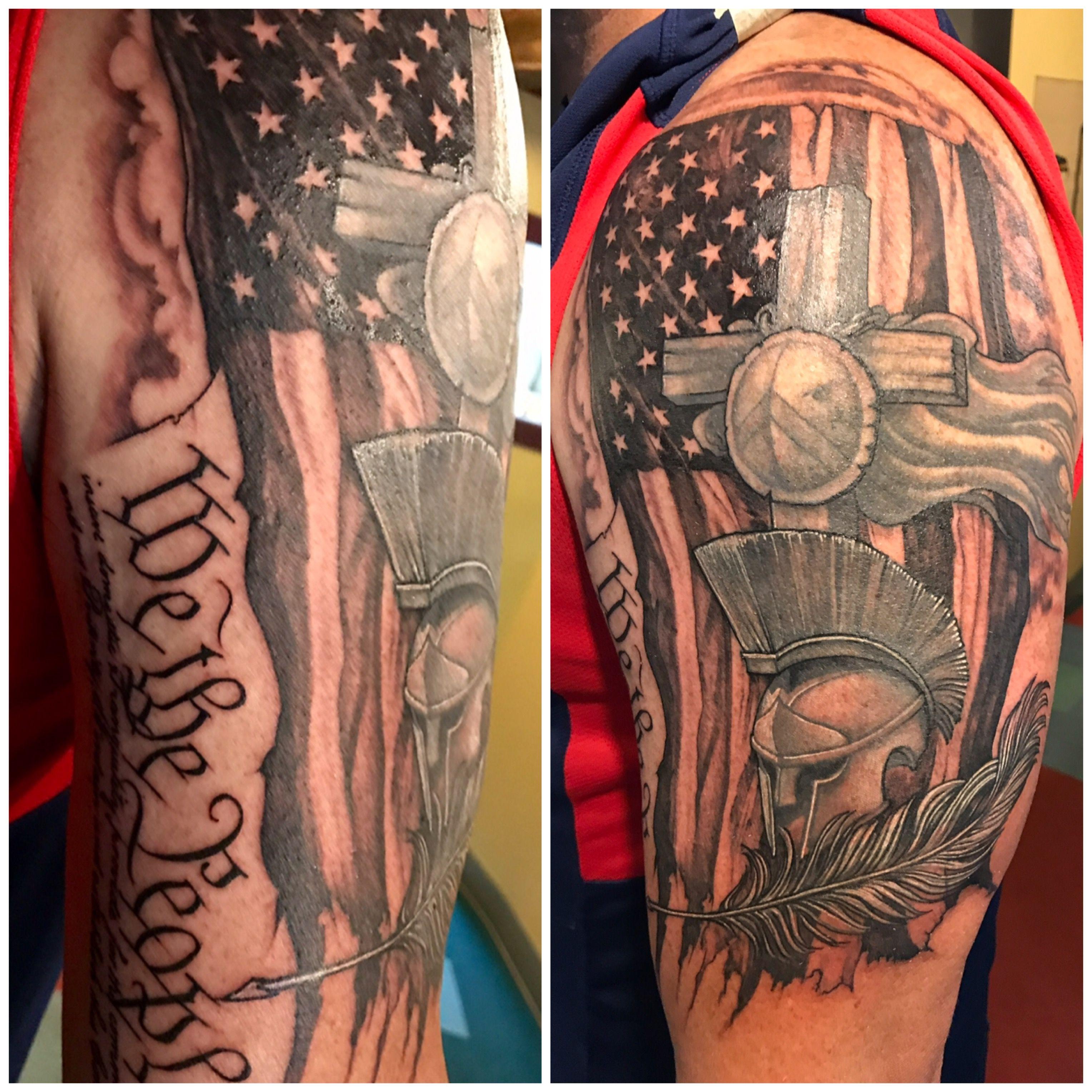 73773b2dda43c American Christian/Spartan/Patriot theme tattoo. | Tattoos | Tattoos ...