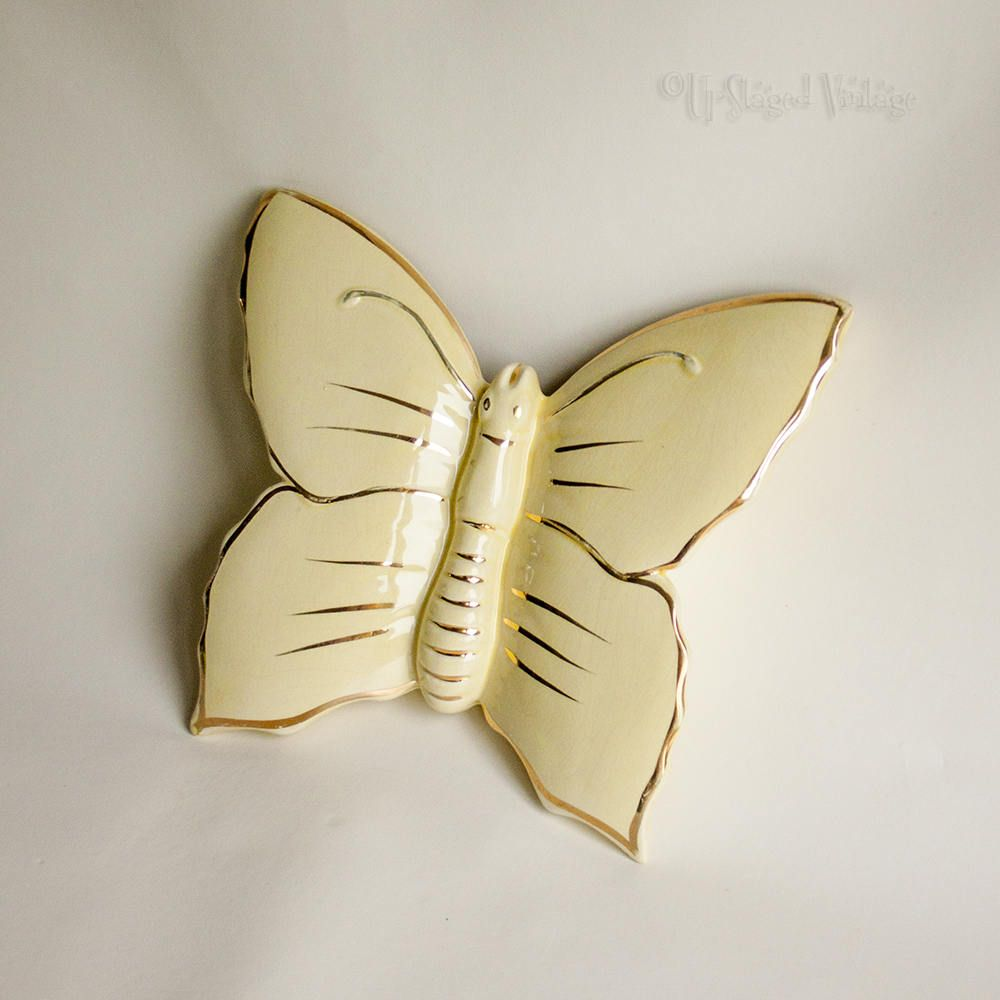 Adorable Vintage 1950s Lemon Yellow Butterfly Ceramic Wall Pocket ...