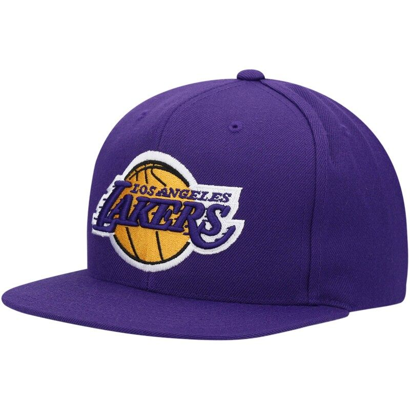 Los Angeles Lakers Mitchell Ness Team Ground Snapback Hat Purple In 2021 Los Angeles Lakers Adjustable Hat Mitchell Ness