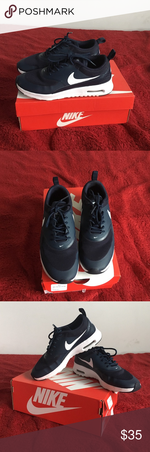 Nike shoes Navy blue, they have been worn but still in great shape! Nike Shoes Athletic Shoes