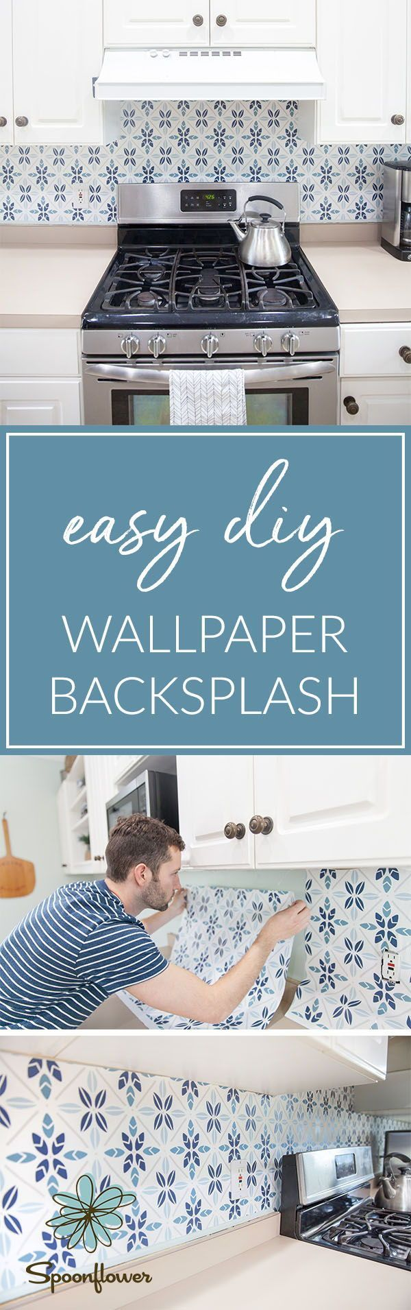 Easy Faux Tile Backsplash with Eco-Friendly Wallpaper – Whether you ...