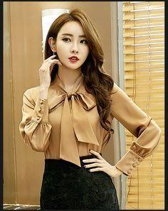 38c4eab0eb Aliexpress.com  Comprar Nueva primavera verano gasa moda europea señoras  blusa elegante color sólido con un arco y mangas de ladies blouses fiable  ...