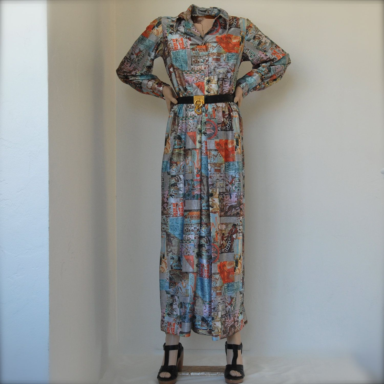 S maxi shirt dress w fantastic egypt print belted long