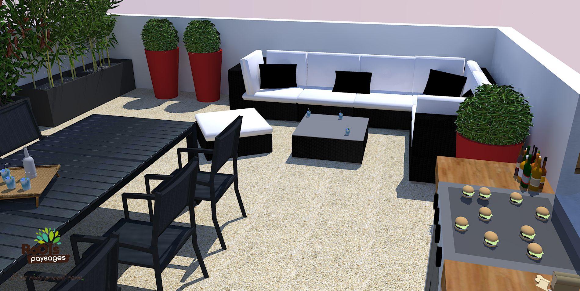 Aménagement d\'une terrasse avec table et salon de jardin plus un ...