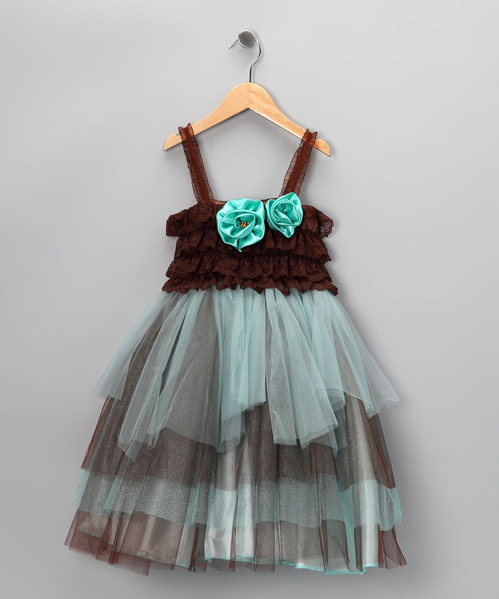 Teal & Brown Tiered Tutu Dress - Infant, Toddler & Girls | Daily deals for moms, babies and kids