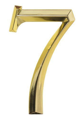 "Classic 6 Inch Number ""7"" - Polished Brass by Whitehall. $12.74. One Year Warranty from Manufacturer. Made in USA. Made of Zinc. These classic 6 inch address numbers are a decorative, do-it-yourself way to give a clean, elegant look to you home. Easy to install numbers available from 0 to 9 come complete with a hidden hardware mounting system. Generous 6 inch size allows visitors to easily identify the location of your home. Finish: Polished Brass.Plaque frame is not includ..."