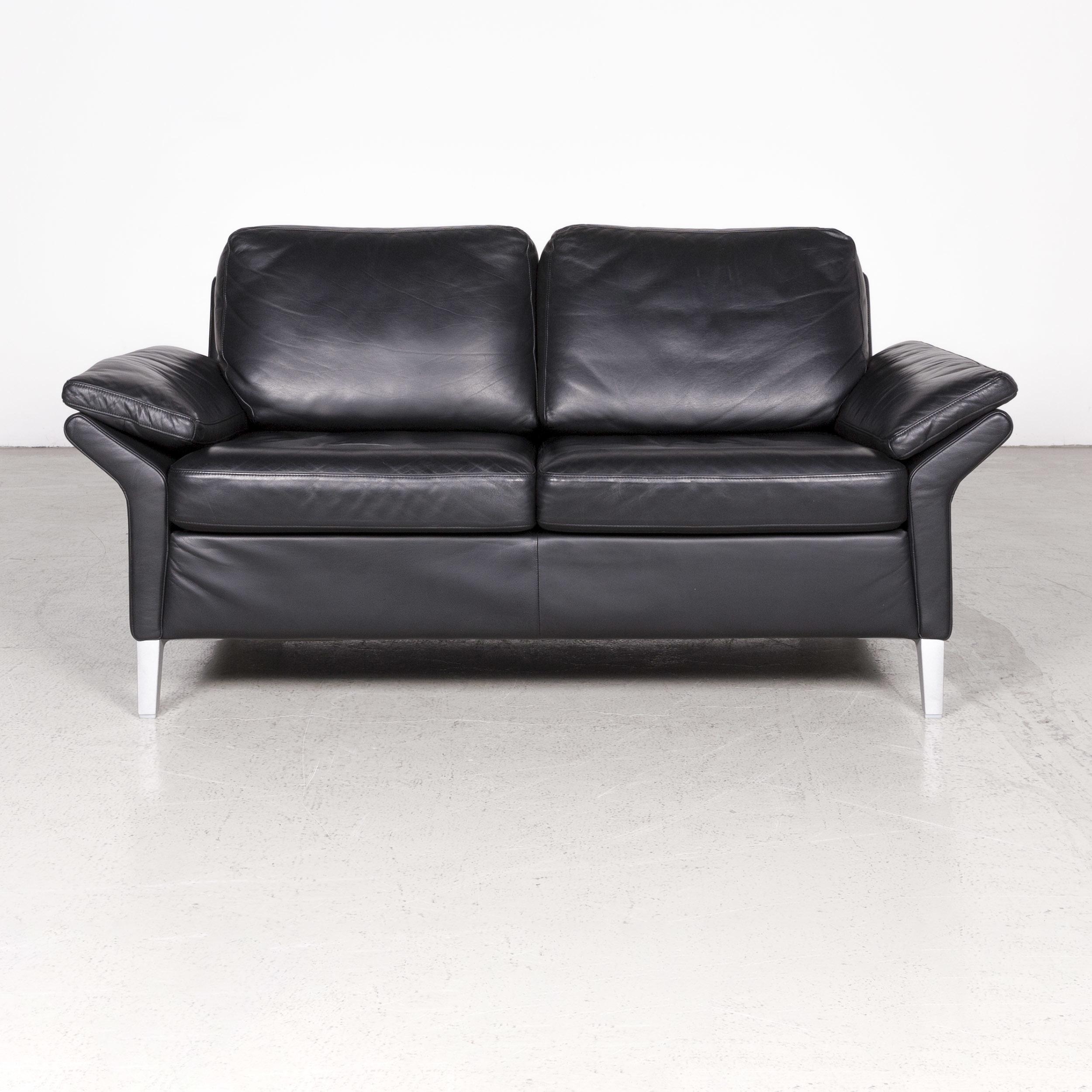 Leather Sofa Black Genuine