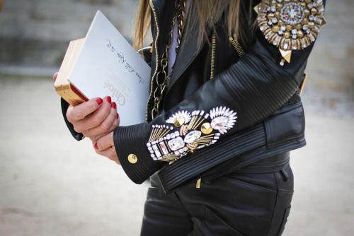 The metal & jewel detailing on this leather jacket is hardcore fabulous. Via Tumblr.