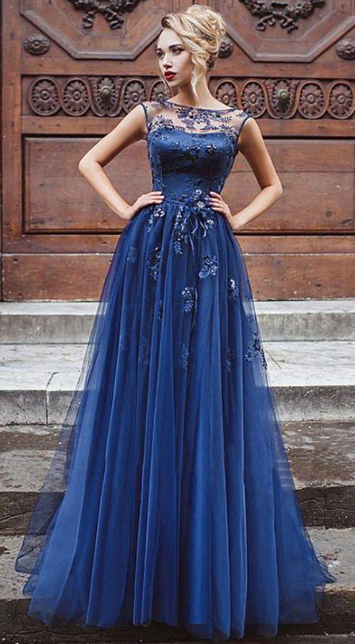 Tulle Bateau Neckline Prom Dress , A-line Evening Dresses ...