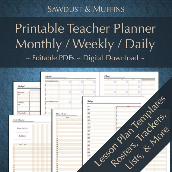 Printable Editable Teacher Planner/ Daily Weekly Monthly Perpetual - perpetual calendar template