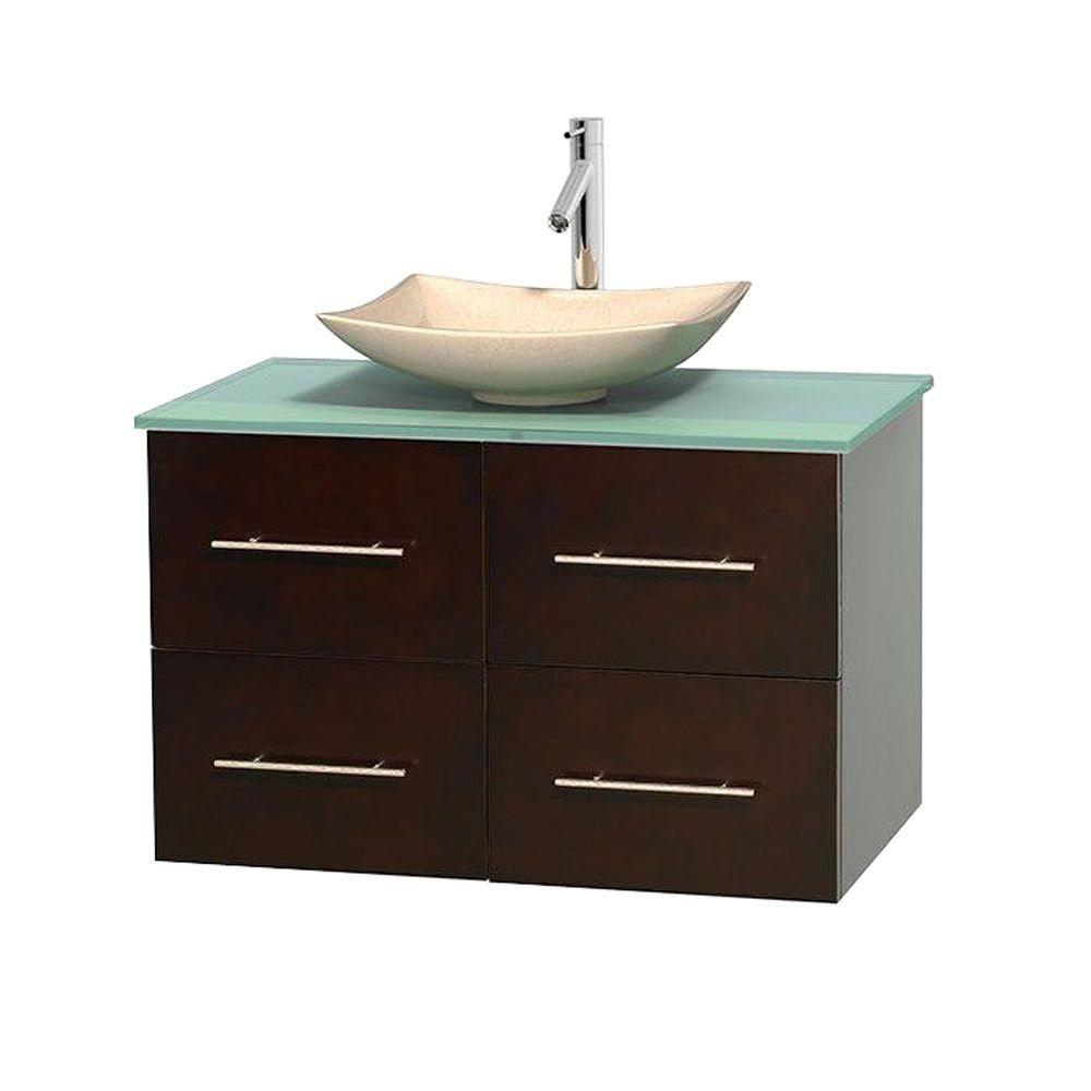 Wyndham Collection Centra 36 in. Vanity in Espresso with Glass Vanity Top in Green and Sink
