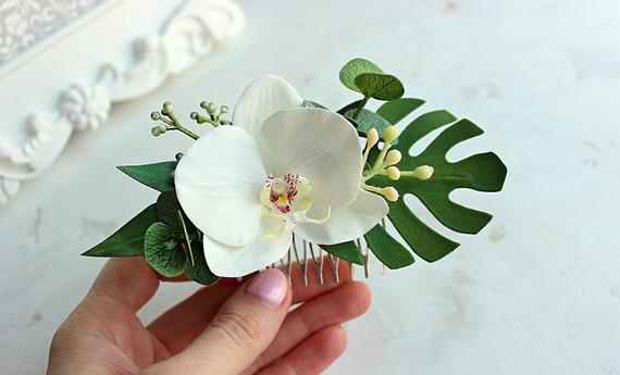Hawaii hair flower comb White Orchid Greenery Tropical wedding accessories Bridal eucalyptus hair piece Bridesmaide flower Modern headpiece