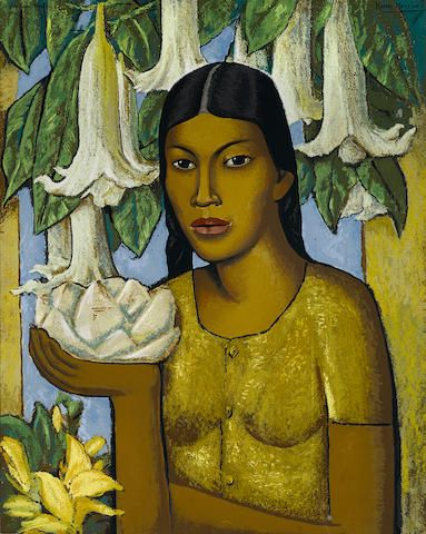 After Alfredo Ramos Martínez (1871-1946); by M.J. de Ramos Martinez La India de Las Floripondias;