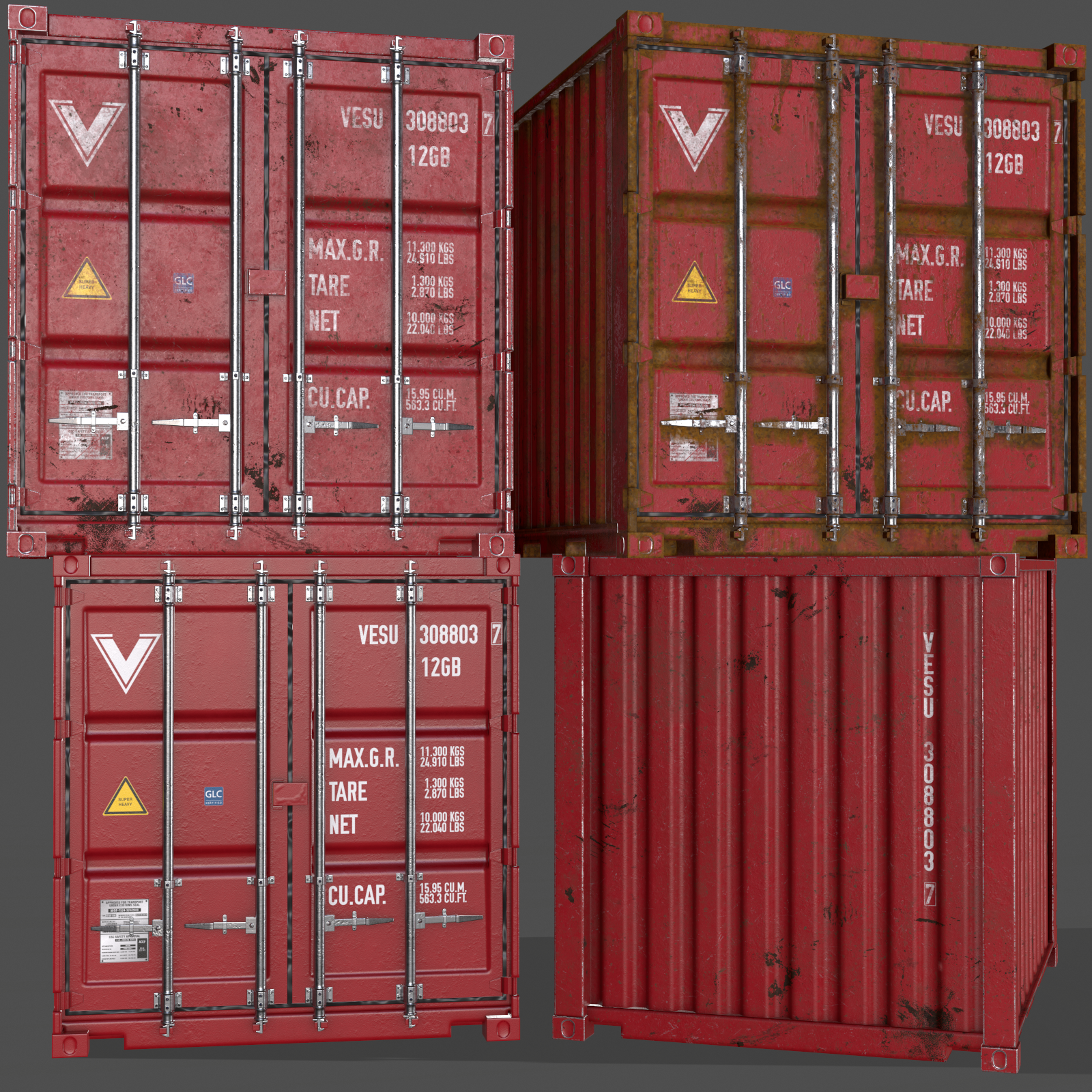 Pbr 10 Ft Storage Container Red 3d Model In 2020 Storage Containers Pbr Low Poly 3d Models
