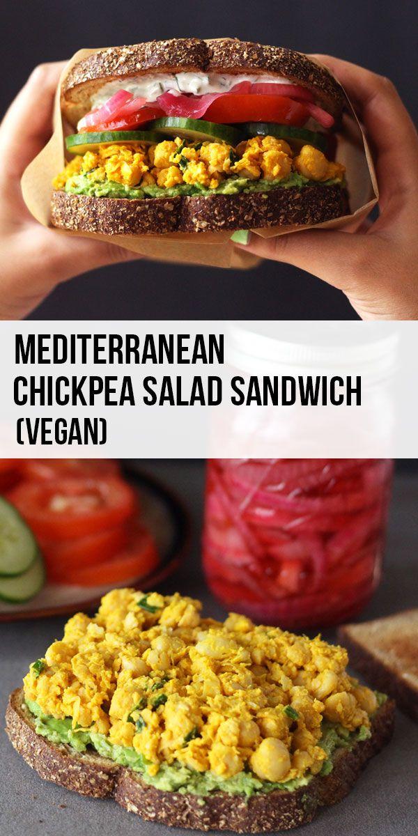 Mediterranean Chickpea Salad Sandwich with Vegan Tzatziki