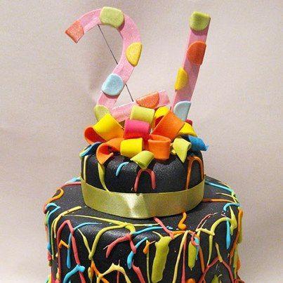Neon 21st Birthday cake made by The Daisy Cake Company Birthday