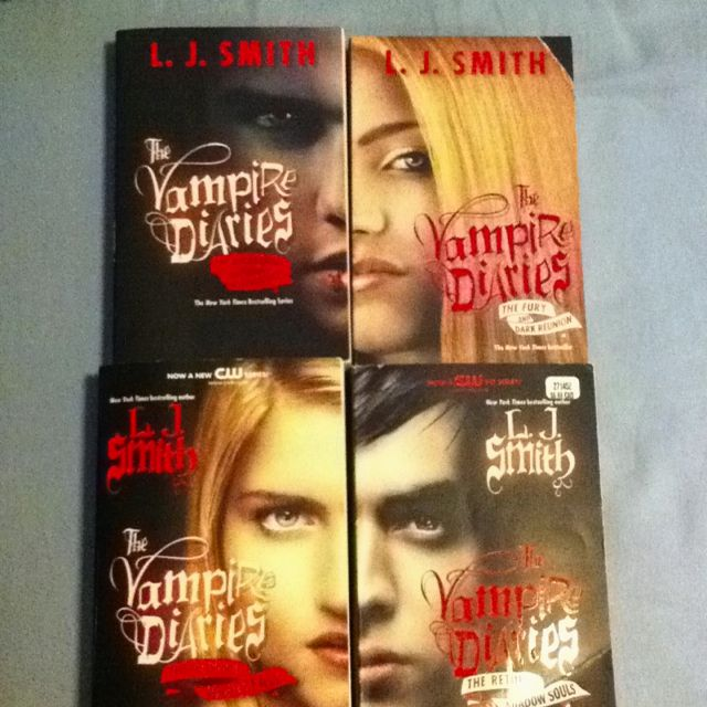 The Vampire Diaries book series. So different from the show. But I like the books and the show. Love how their faces fit together.