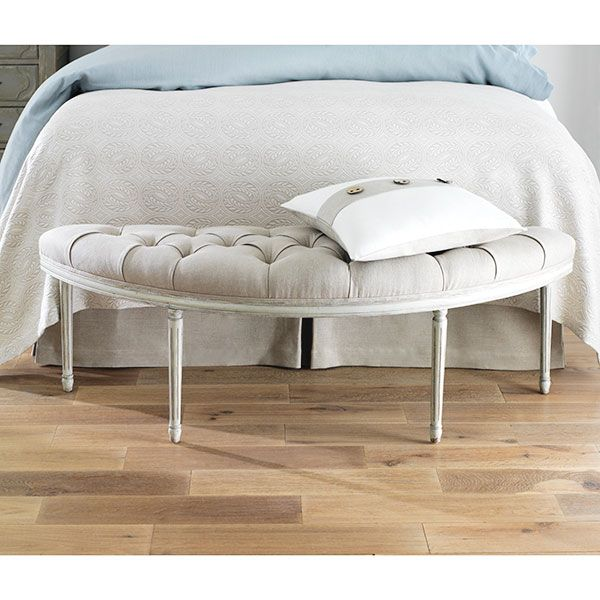 Tufted Linen French Bench   Mesas