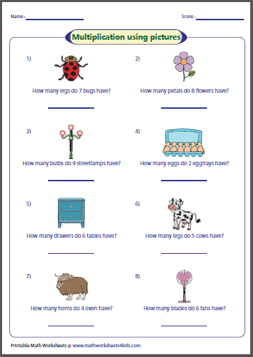 Easy multiplication worksheets with pictures