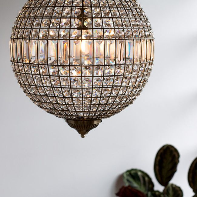 Iconic Mancunia K9 Crystal Globe Ceiling Light In Antique Brass Candelabros