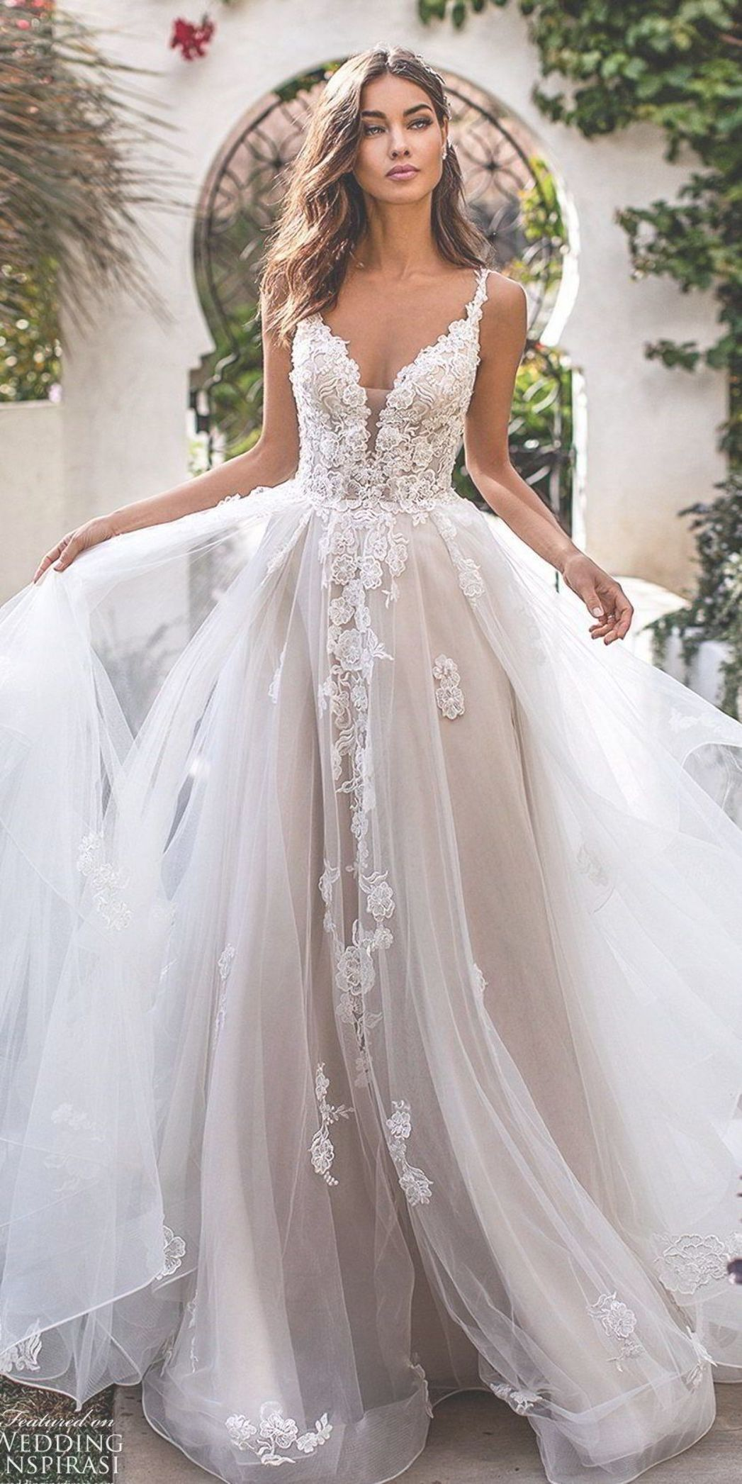 Moonlight Couture fall 2019 bridal sleeveless lace straps
