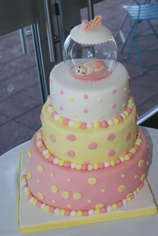Pink Yellow Baby Shower Cake Ashlea S Babyshower Baby Shower
