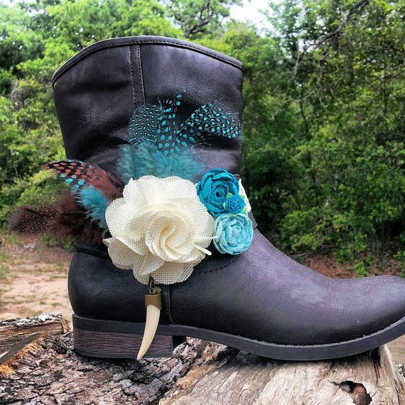 Boot Bracelet Boot Band Lace Bone Horn Flower by BootsandBobbles, $24.99