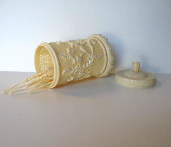 Sale vintage toothpick holder cocktail picks ivory for Canape holders