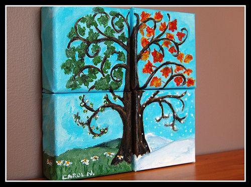 Four Seasons Tree Tree Painting Calendar Craft Seasons