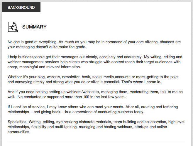 Sample Profile Summary For Resume Your Linkedin Summary Is The Most Important White Space On Your Ent .