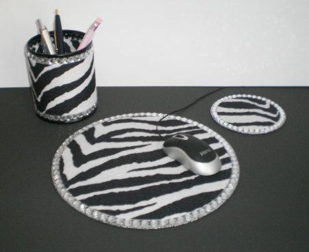 zebra print bling computer desk set by lauriebcreations on etsy