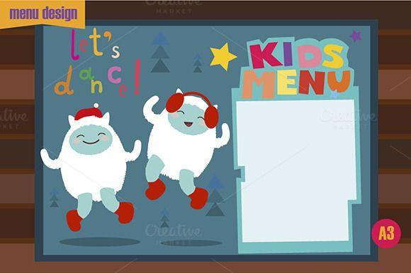 Check out Kids menu design with dancing yeti by MilkSilk on Creative - resume yeti