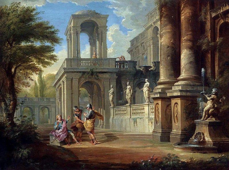 Каприччо с двумя солдатами, обращающимися к юноше, и фигурами на балконе 73х98, частное собрание