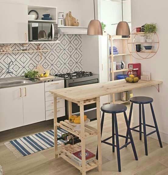 Light wood kitchen bar table | [Sentindo-se em casa] | Pinterest ...