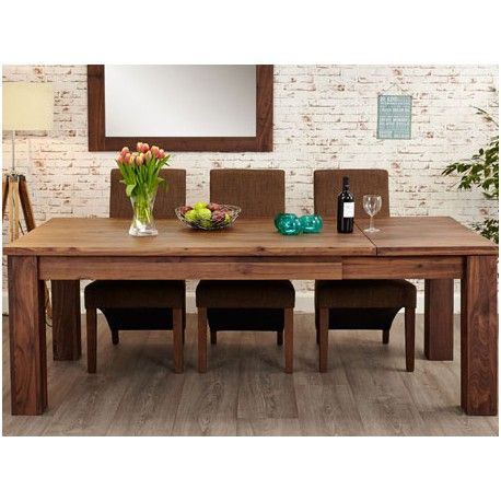 This Mayan Walnut Extending Dining Table 6 To 8 Seater Has Chunky Legs Finish