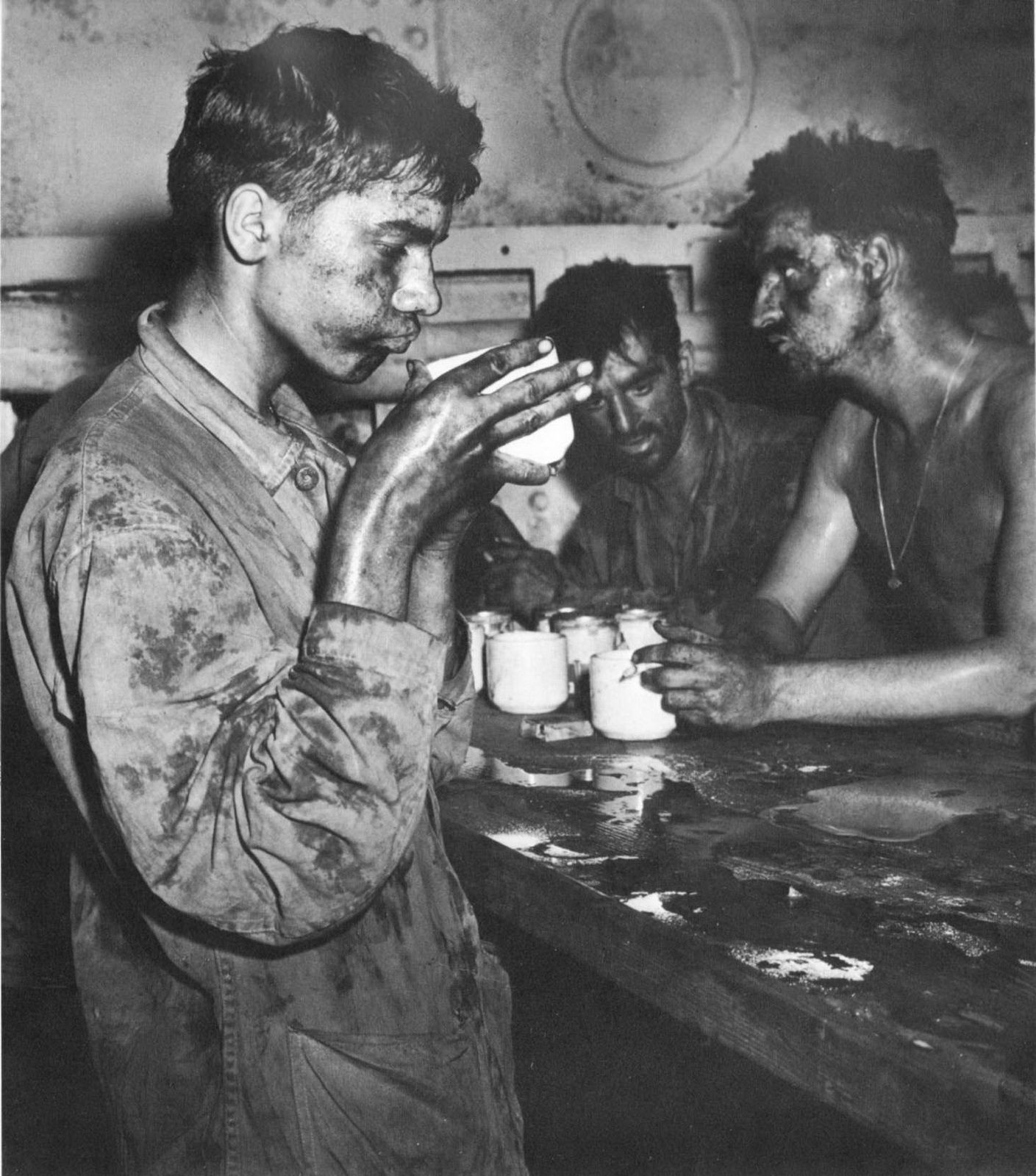 Marines aboard USS Arthur Middleton after fighting in the Marshall Islands, Feb 1944