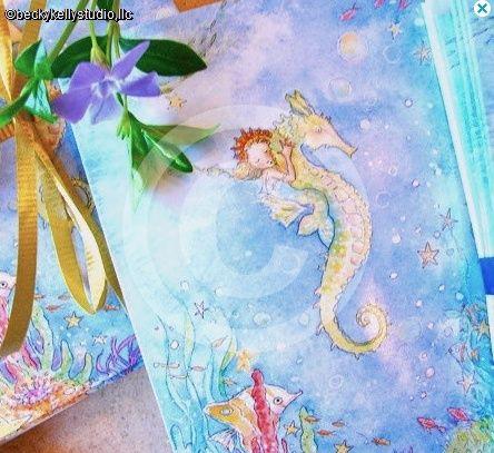 The Enchanted Garden, Portfolio, website, watercolor artist Becky Kelly, mermaids, mermaid, children's book, artist, soft colors, watercolor, inspirational, unique, storybook art, whimsical, cute, bear, bug, fairy, painter, illustrator, prints, painter, painting, faeries, mermaid, water, seahorse,
