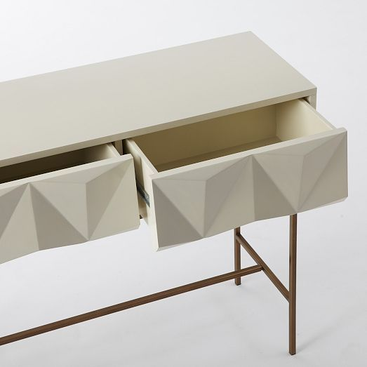 Sculpted Geo Console Parchment Furniture Modern Drawers