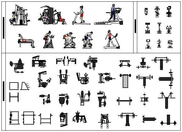 Free CAD Symbols Gym Equipment . | Fitness Equipments
