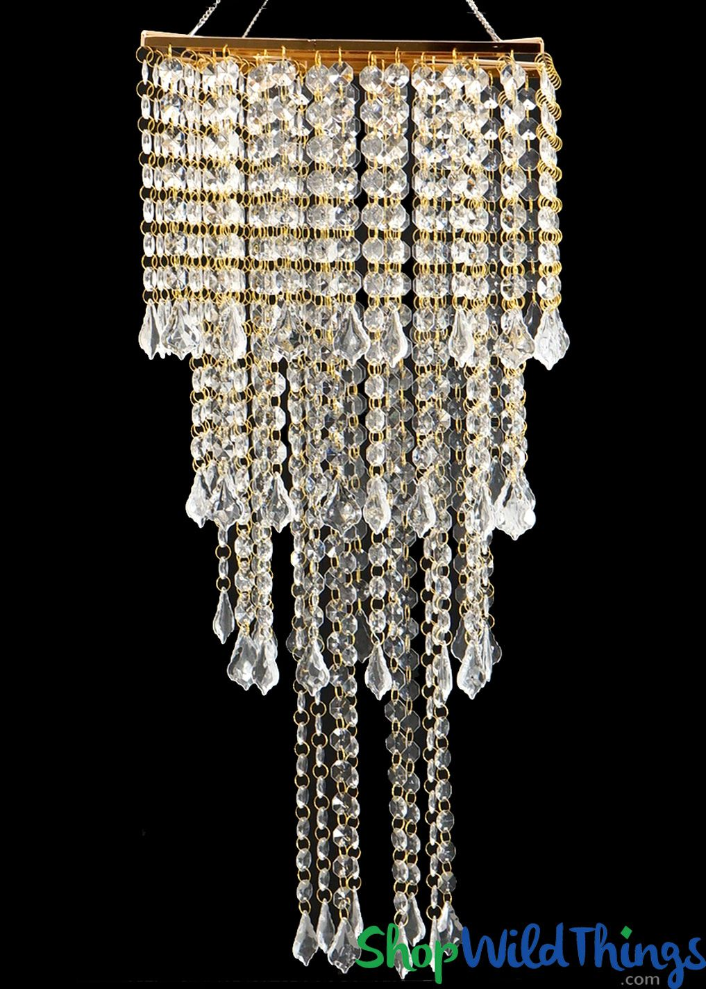 Real Crystal Beaded Square Chandelier Hanging Or Tabletop Gold
