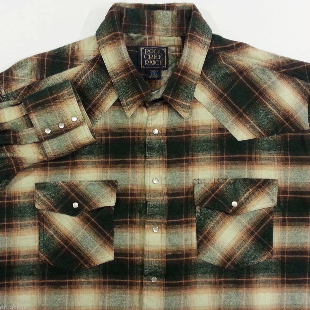 Pearl snap flannel shirt barn jacket 3xlt mens plaid brown for Mens 4xlt flannel shirts