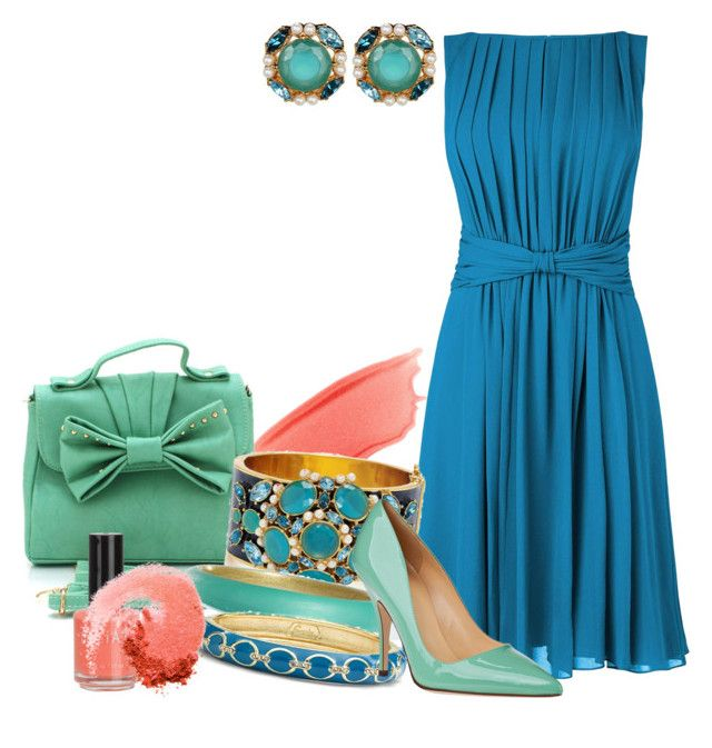 """""""Caribbean colors"""" by meganpearl ❤ liked on Polyvore featuring Stila, L.K.Bennett, Kate Spade, Alexis Bittar, Sequin, NARS Cosmetics, mint green, pointed-toe pumps, studded handbags and coral"""