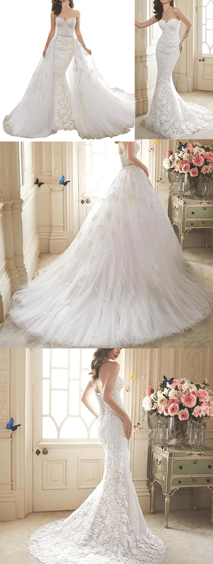 Detachable skirt wedding dress  Tsbridal Detachable Skirt Wedding Dress Lace Mermaid Wedding