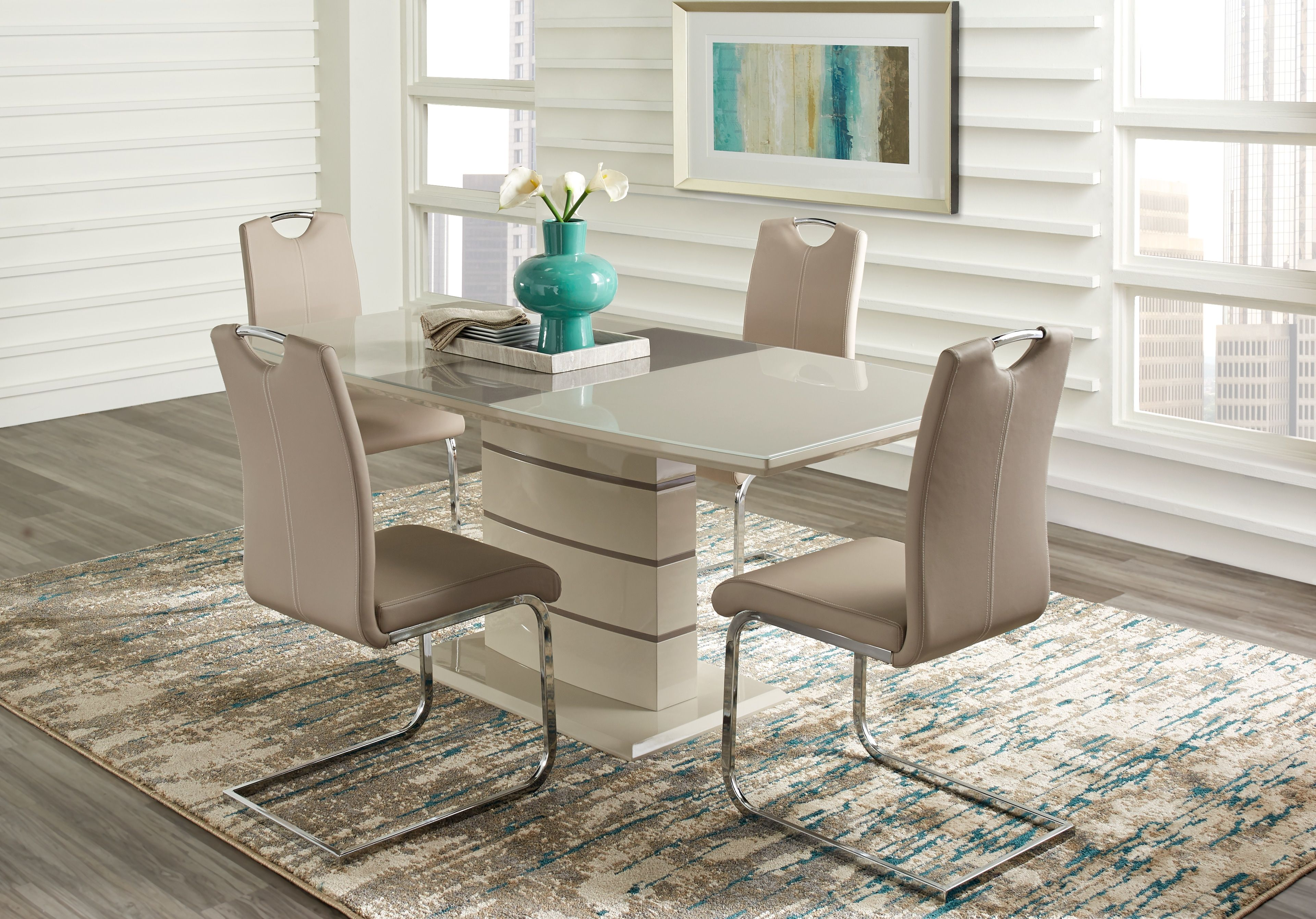 Bay Ridge Champagne 5 Pc Dining Room Dining Room Sets Dining Room Table Chairs Dining