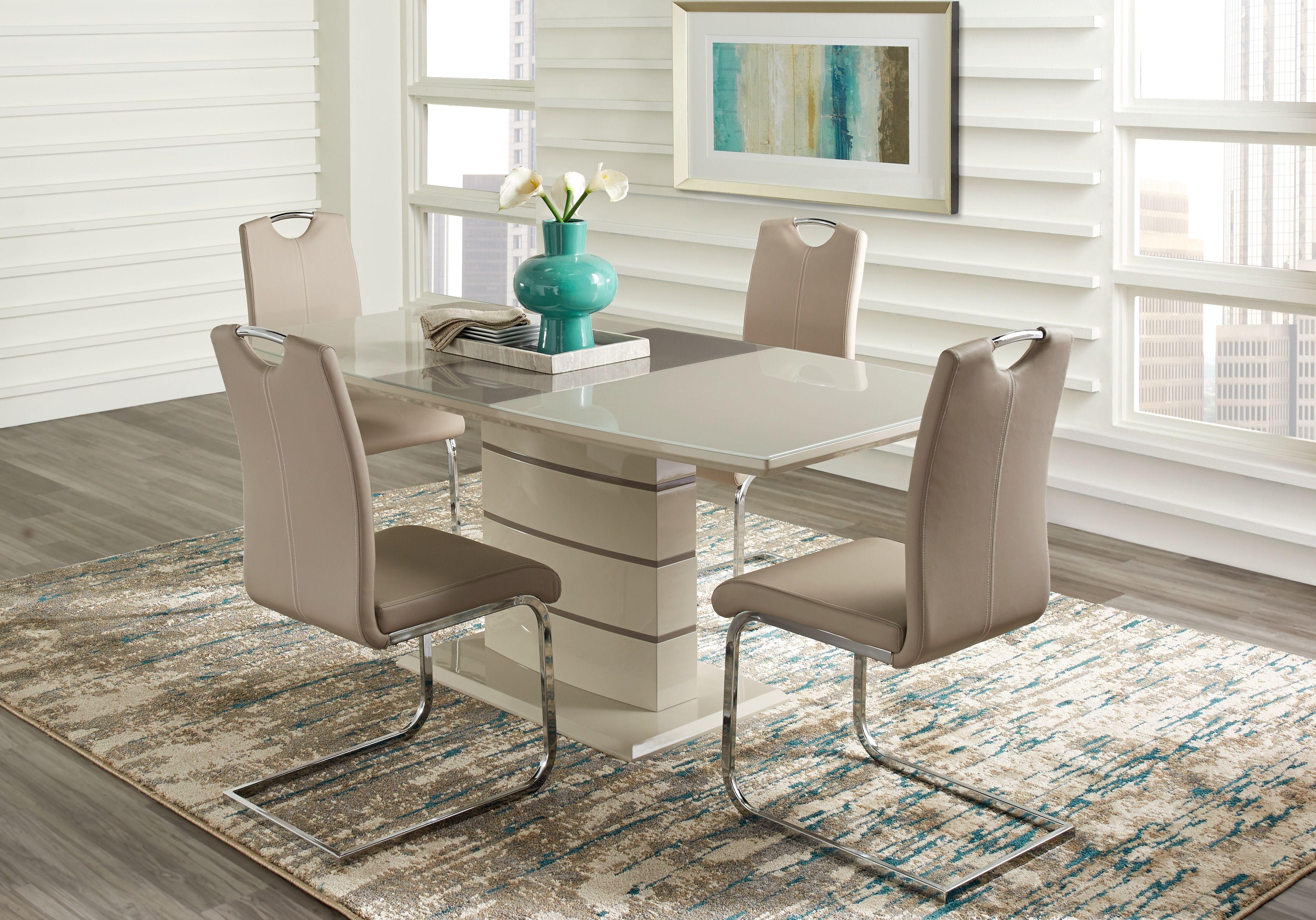 Bay Ridge Champagne 5 Pc Dining Room Dining Room Sets Dining Room Table Chairs Dining Room Suites