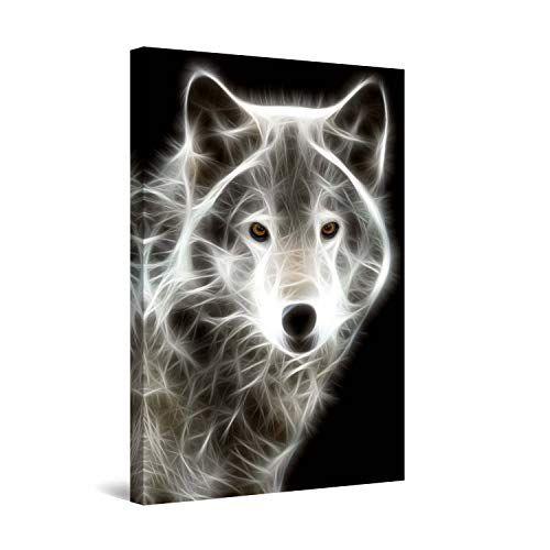 STARTONIGHT Wall Art Canvas White Wolf, Animals Framed 24