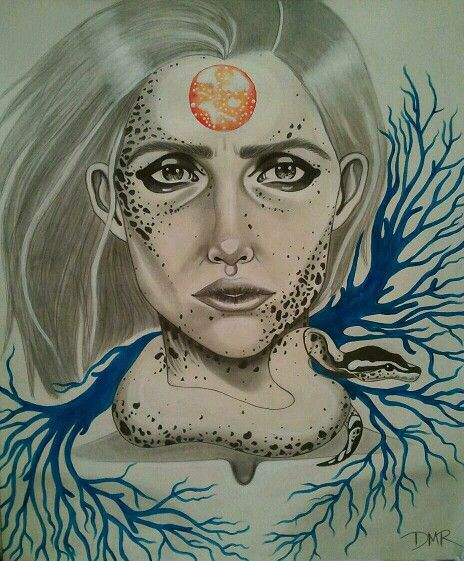 Piebald python/mixed media fantasy art
